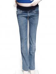 Jean de grossesse, coupe droite, ceinture élastiquée